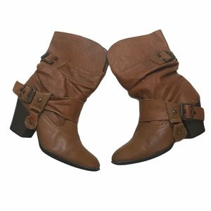 Andrea Leather Western Boots Booties Sz 6 Spurs